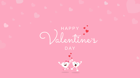 Happy Valentine's Day greeting card calligraphy handwriting with love heart and cute cartoon character on pink background. Vector illustration banner, wallpaper, poster, brochure template design.