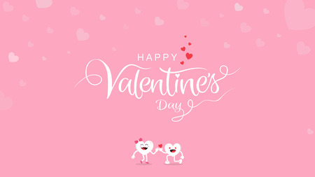 Valentine's Day background with calligraphy handwriting with cute cartoon on pink background. Vector illustration banner, greeting card, wallpaper, poster, brochure template design.