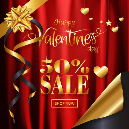 Valentine's day sale red satin, silk cloth background with gold ribbon, Heart and star shaped ornamental chain and page curling style for banner, invitation, posters, brochure. Vector illustration.