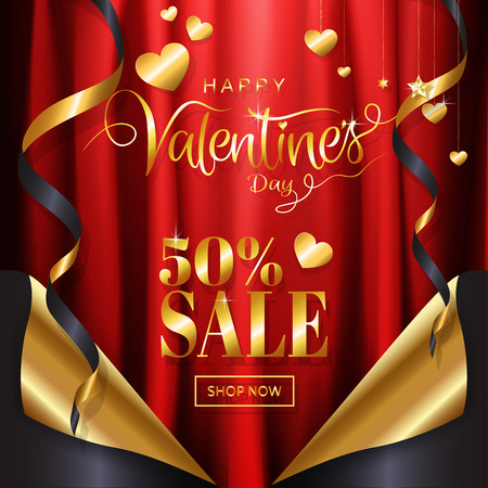 Valentine's day sale background page curl style with red satin fabric background with gold ribbin, glitter ornamental calligraphy for promotion banner, invitation, posters. Vector illustration. Vettoriali