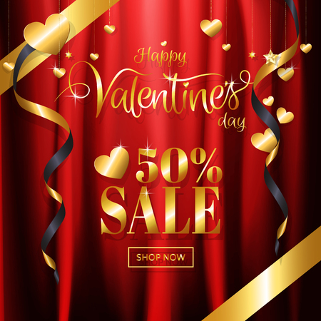 Luxury Valentine's day sale with red gold background calligraphy and glitter heart, star ornamental decoration on red satin fabric background for promotion banner, posters. Vector illustration. Vettoriali