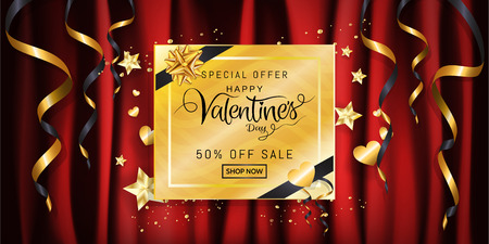 Luxury Valentines day sale banner background with gold glitter gift box and star, heart shaped on red fabric, satin, silk cloth background for promotion wide banner, wallpaper. Vector illustration.