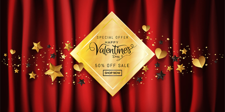 Luxury Valentines day sale banner gold glitter calligraphy, Heart, ribbin ornamental decorative on red satin background with copy space for promotion campaign banner advertisement, Vector illustration Vettoriali