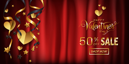 Elegance sale wide banner design for Valentines day wallpaper, background, Gold glitter calligraphy on red silk cloth background with copy space, Heart ornamental decorative. Vector illustration. 矢量图像