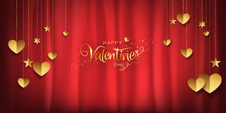 Valentines day luxury background, Gold glitter heart and star shaped decoration on red satin cloth background with copy space. For wallpaper, banner, poster, brochure. Vector illustration. 矢量图像
