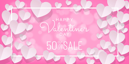Paper cut style of Valentines day sale background in pink color with hearts and white frame, Paper art (Digital craft) wallpaper, posters, brochure, banner. Vector illustration. Иллюстрация