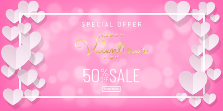 Papercut style of Valentines day sale background with gold calligraphy on pink color with hearts and white frame, Paper art (Digital craft) wallpaper, posters, brochure, banner. Vector illustration. Vettoriali