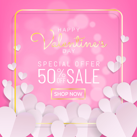 Valentines day sale background in sweet pink color with typography and gold frame with bunch of white heart in paper cut (paprt art, digital craft) style. Vector illustration.