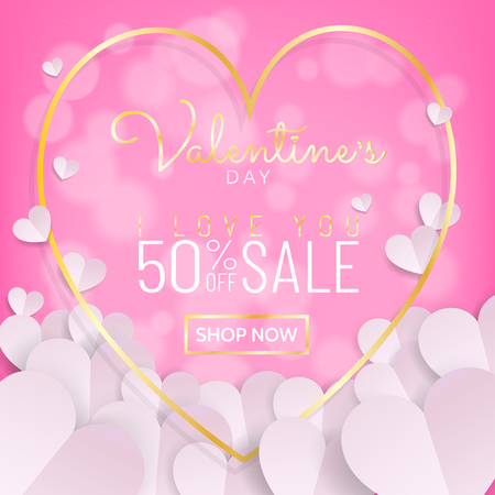 Valentines day sale background in sweet pink color with typography and gold frame with bunch of white heart in paper cut (paper art, digital craft) style. Vector illustration.