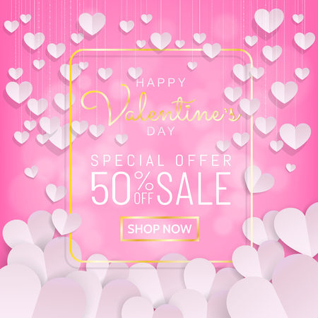 Valentines day sale background banner, calligraphy greeting card in sweet pink color with hanging hearts decoration in paper cut (paper art, digital craft) style. Vector illustration.
