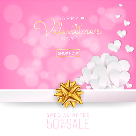 Valentines day sale background, Greeting card, discount card in paper cut style (digital craft, paper art), Gold ribbon, Paper hearts decoration on sweet pink color background. Vector illustration.
