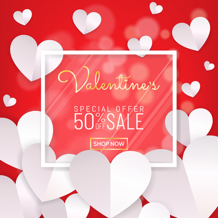 Valentines day sale background banner, calligraphy greeting card style with white glass frame with hearts decoration in paper cut style (paper art, digital craft). Vector illustration. Vettoriali