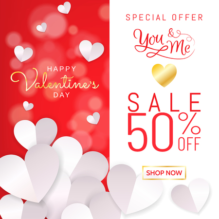 Happy Valentine's Day sale banner background in white red for promotion with paper heart decoration in paper cut (paper art, digital craft) style. Vector illustration. Vettoriali