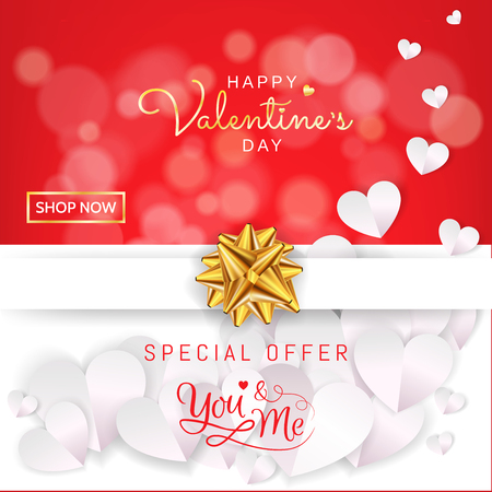 Valentine's Day sale banner design gift box present in red and white with gold ribbon and paper heart in paper cut style decoration for flyer, advertising, poster, greeting card. Vector illustration. Vettoriali