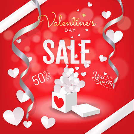 Valentine's Day sale banner red background, Open gift box with hearts paper cut style (paper art, papercut, digital craft) design for sale promotion banner, brochure, advertising. Vector illustration