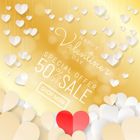 Happy Valentines Day sale background banner with paper cut style decoration of hanging hearts and red paper heart at center design for web banner, sale promotion, campaign. Vector illustration.