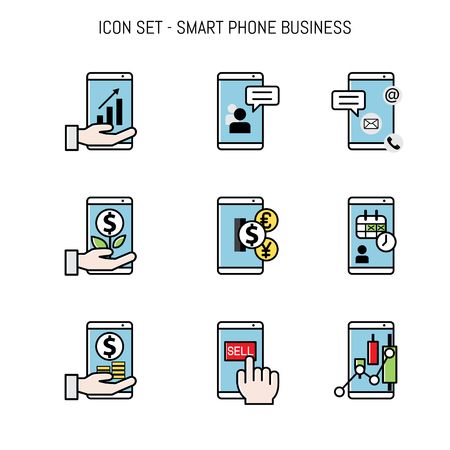 Business icon collection set flay lay design with elements for mobile, smart phone and web apps concepts Vettoriali
