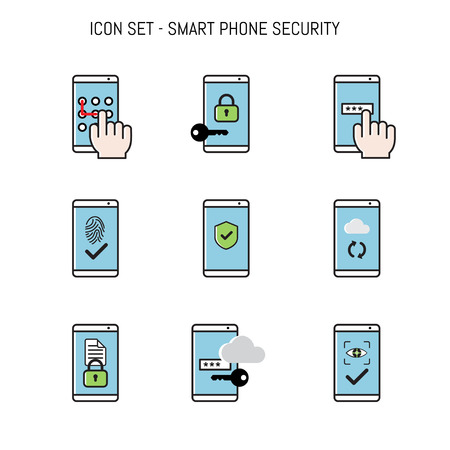 Mobile, Smart phone security icon collection set concepts flat lay elements design for web, banner Vettoriali