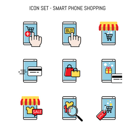 Mobile shopping, Smart phone merchant online, web buyer, Flat lay icon collection design for web design