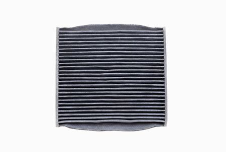 The bottom side of dirty air filter isolated on white