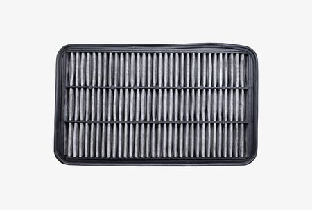 Top view of car dirty air filter isolated on white Archivio Fotografico