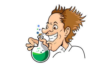 Scientist Creating a Potion or Medical Serum Mascot Cartoon Vector