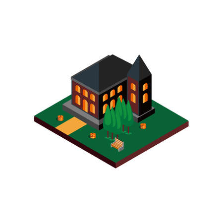 Medieval Building with Trees and Halloween Pumpkin Isolated White Vecteurs