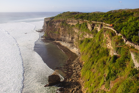 View on the ocean from the cliffs of Pura Luhur Uluwatu, Bali photo