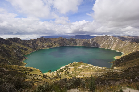 Panoramic view of volcanic Quilotoa lagoon, Ecuador, South America, Andean highlands Stock Photo