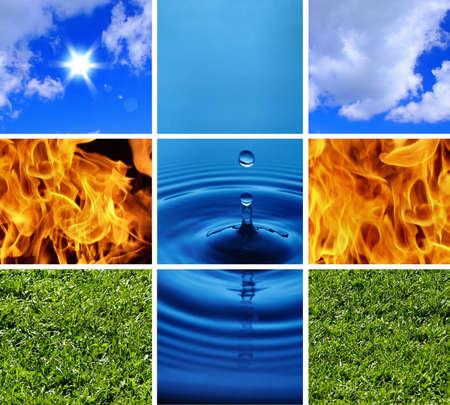 cuatro elementos: Cuatro elementos de la naturaleza # 1 Foto de archivo