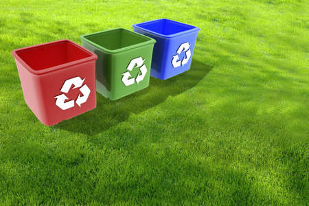 Domestic recycling boxes Stock Photo