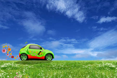 means of transport: Eco car Stock Photo