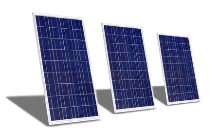 Solar Panels on white background Stock Photo