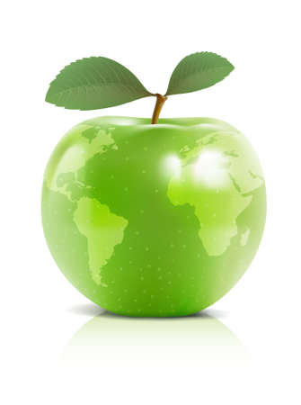 The globe in a apple