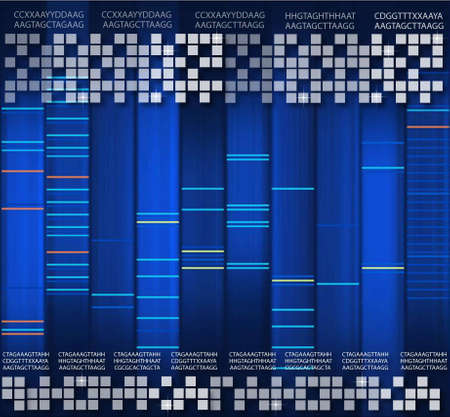 DNA blue background Stock Photo
