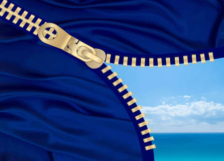 Open blue zipper showing sky and sea Stock Photo