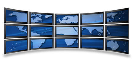 Global communication: the globe on screens. Stock Photo - 5511591