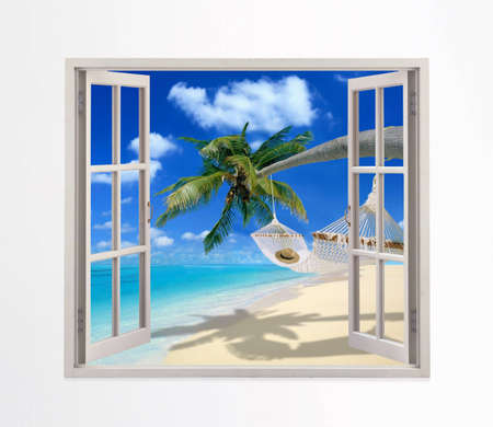 open windows: Open window on a beach