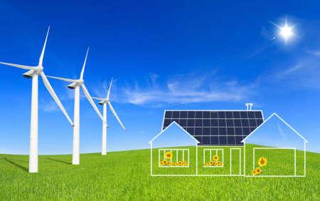 panel: Eco House Stock Photo