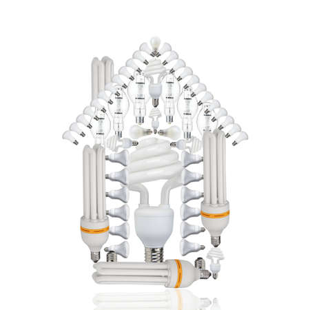 House made of bulbs on white background.