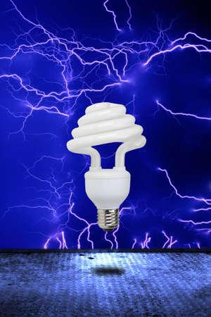 Eco bulb: lower part lamp consumption. Stock Photo