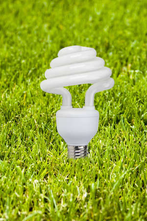 Eco bulb: lower part lamp consumption in a field of grass. Stock Photo