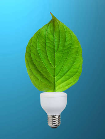Eco bulb: lower part lamp consumption with green leaf. Stock Photo