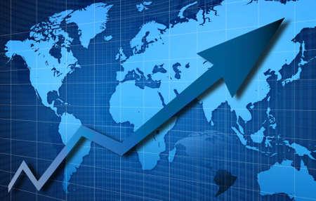 Financial diagram:arrow on blue globe background. Stock Photo