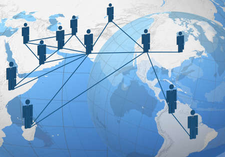 global connection: Global connection: businessman globally connected.