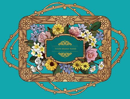 golden daisy: Vector Vintage Flower  Golden Frame Design