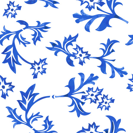 package printing: Vector Seamless Porcelain Pattern in White Background Illustration
