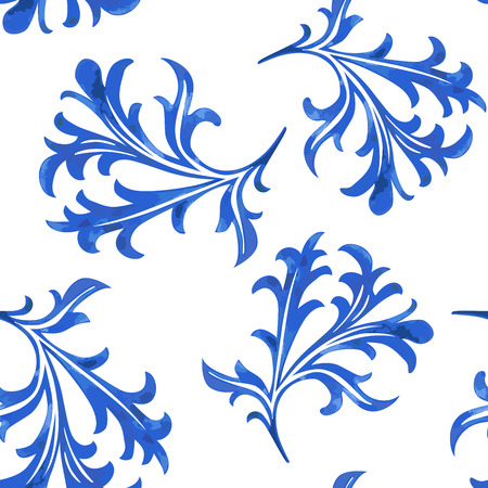 porcelain: Vector Seamless Porcelain Pattern in White Background Illustration