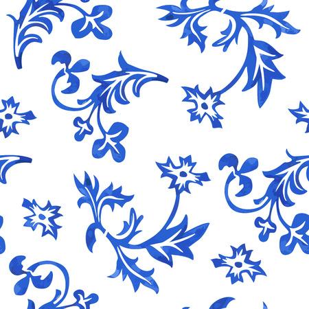 azure: Vector Seamless Porcelain Pattern in White Background Illustration