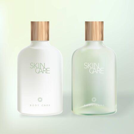Vector Body or Hair Care / Wash Bottle with Wooden Cap Vektorgrafik